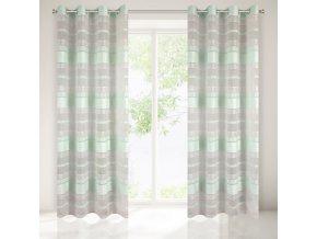 Dekorační vzorovaná záclona LILIAN mátová, 140x250 cm MyBestHome