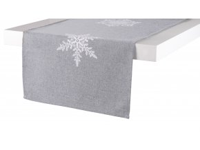 Ubrus - běhoun na stůl SNOW FLAKE, 35x170 cm, světle šedá, ESSEX