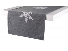 Ubrus - běhoun na stůl SNOW FLAKE, 35x170 cm, tmavě šedá, ESSEX