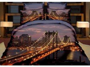 Povlečení MANHATTAN BRIDGE 3D francouzské povlečení, 1x 200x220 cm, 2x povlak 70x80 cm, MyBestHome