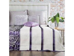 Přehoz na postel ROBERTA 220x240 cm fialová/krémová Mybesthome