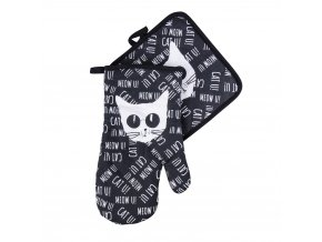 Kuchyňský set rukavice/chňapka BLACK CAT, černá, 18x30 cm/20X20 cm ESSEX, 100% bavlna