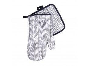 Kuchyňský set rukavice/chňapka BLACK WHITE motiv C, 18x30 cm/20X20 cm ESSEX, 100% bavlna