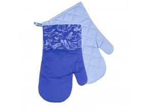 Kuchyňské bavlněné rukavice chňapky VERDURE - modrá, 100% bavlna 18x30 cm Essex