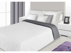Přehoz na postel SERENA 230x260 cm bílá/tmavě šedá Mybesthome