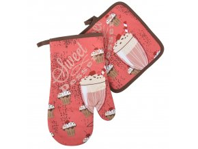 Kuchyňský set rukavice/chňapka SWEET DESSERT růžová, 18x30 cm/20X20 cm ESSEX