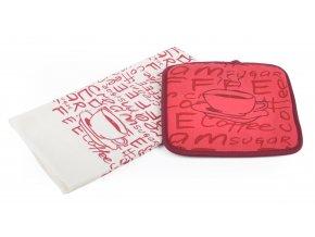 Kuchyňský set mikrovláknová utěrka/chňapka LATTÉ červená, 38x63 cm/20X20 cm ESSEX