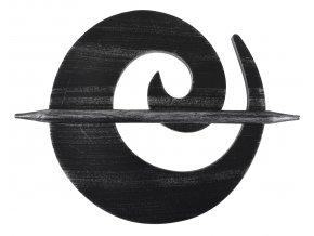 Dekorační ozdobná spona na závěsy z přírodního dřeva ANGEL, černá/stříbrná, ø 18 cm Mybesthome