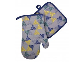 Kuchyňský set rukavice/chňapka BRAVE CHEF modrá, 18x30 cm/20X20 cm ESSEX, 100% bavlna