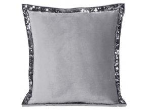 Polštář s ozdobným lemováním DIAMO 40x40 cm stříbrná, mikrovlákno, Mybesthome