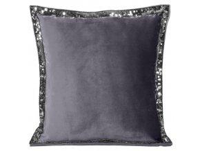 Polštář s ozdobným lemováním DIAMO 40x40 cm šedá, mikrovlákno, Mybesthome