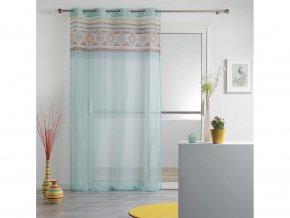 Dekorační záclona WALTZ mátová/bílá se vzorem s kroužky 140x240 cm MyBestHome