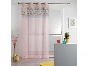 Dekorační záclona WALTZ růžová/bílá se vzorem s kroužky 140x240 cm MyBestHome
