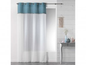 Dekorační záclona TANGO modrá/bílá s kroužky 140x240 cm MyBestHome