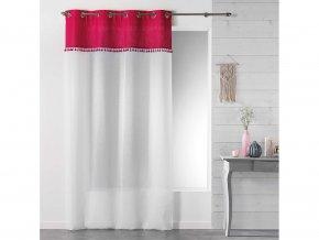 Dekorační záclona TANGO růžová/bílá s kroužky 140x240 cm MyBestHome