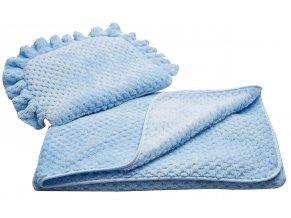 Komplet do kočárku KAYA modrý polštářek 38x28 cm s dekou 80x90 cm Mybesthome