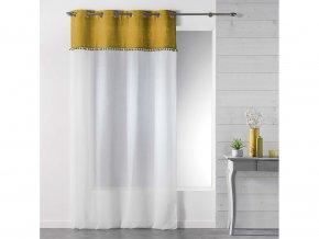 Dekorační záclona TANGO hořčicová/bílá s kroužky 140x240 cm MyBestHome