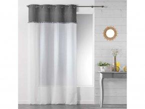 Dekorační záclona TANGO šedá/bílá s kroužky 140x240 cm MyBestHome