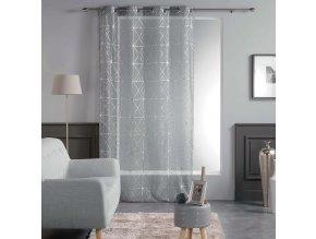 Dekorační záclona CASTELLON šedá se vzorem s kroužky 140x240 cm MyBestHome