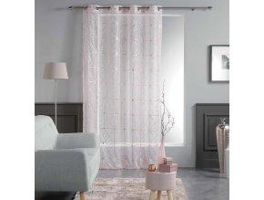 Dekorační záclona CASTELLON růžová se vzorem s kroužky 140x240 cm MyBestHome