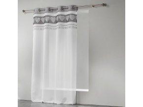 Dekorační záclona MODERNA bílá/šedá se vzorem s kroužky 140x260 cm MyBestHome