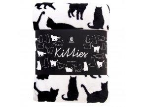 Deka z mikrovlákna KITTIES bílá 150x200 cm Essex