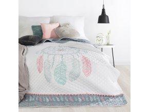 Přehoz na postel LAPAČ SNŮ - LOVE 200x220 cm šedá Mybesthome