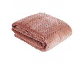 Přehoz na pohovku - deka z mikrovlákna SOFIA 220x200 cm růžová Mybesthome