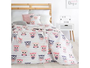 Přehoz na postel SOVIČKY 170x210 cm růžová Mybesthome