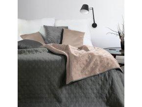 Přehoz na postel COCO 220x240 cm růžová/šedá Mybesthome