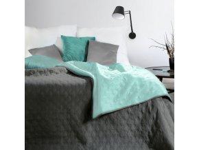 Přehoz na postel COCO 220x240 cm mátová/šedá Mybesthome