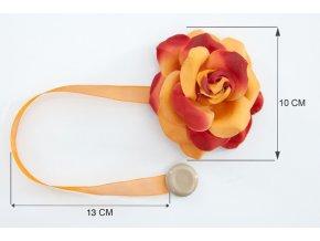 Dekorační ozdobná spona na závěsy s magnetem VERONICA, pomerančová, Ø 10 cm 2 kusy v balení Mybesthome