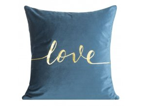 Polštář LOVE modrá 45x45 cm mikrovlákno MyBestHome