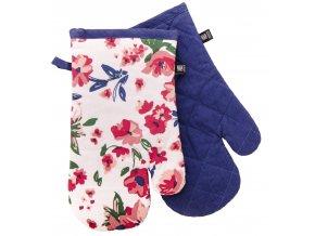 Kuchyňské bavlněné rukavice 2 chňapky FIORITO tmavě modrá, 100% bavlna 19x30 cm Essex