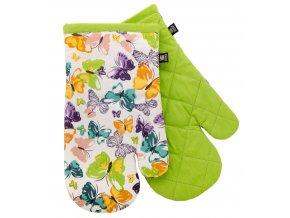 Kuchyňské bavlněné rukavice 2 chňapky FIORITO zelená, 100% bavlna 19x30 cm Essex