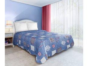 Přehoz na postel UNIVERSITY 170x210 cm modrá  Mybesthome