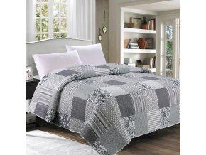Přehoz na postel CHARLES 200x220 cm šedá vzor patchwork ESSEX