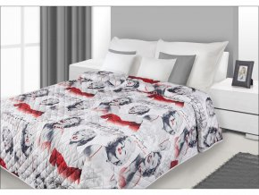 Přehoz na postel Marilyn Monroe 220x240 cm bílá/černá Mybesthome