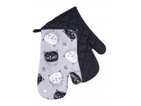 Kuchyňské bavlněné rukavice chňapky BLACK CAT, šedá, 100% bavlna 19x30 cm Essex