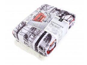 Přehoz - luxusní mikrovláknová deka s beránkem URBANIQUE motiv LONDÝN -150x200 cm Essex