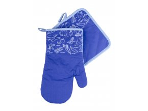 Kuchyňský set rukavice/chňapka VERDURE modrá 19x30 cm/20X20 cm ESSEX, 100% bavlna