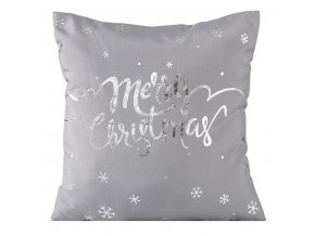 Polštář MERRY CHRISTMAS stříbrná 40x40cm Mybesthome