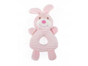 Dětské plyšové chrastítko CUDDLY RABBIT růžová 10x20 cm Essex