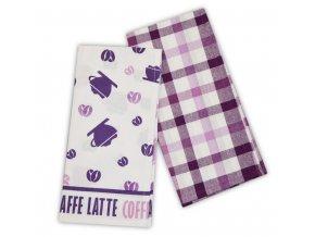 Utěrka CAFE AU LAIT 2 kusy 100% bavlna 45x65 cm, fialová, ESSEX