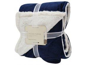 Přehoz - mikrovláknová deka s beránkem SAMBA tmavě modrá -150x200 cm Essex