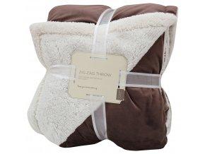 Přehoz - mikrovláknová deka s beránkem SAMBA tmavě hnědá -150x200 cm Essex