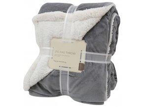 Přehoz - mikrovláknová deka s beránkem SAMBA tmavě šedá -150x200 cm Essex