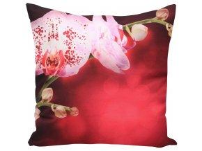 Polštář ORCHIDS IN RED MyBestHome 40x40cm fototisk 3D motiv orchideje