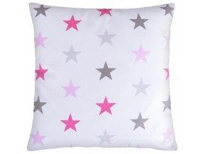 Bavlněný polštář HVĚZDY mix/růžová 40x40 cm, Mybesthome