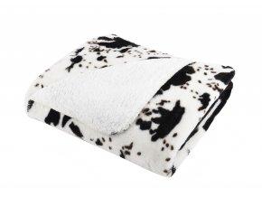Přehoz - mikrovláknová deka s beránkem SAFARI 200x220 cm černá/bílá motiv gazela Essex